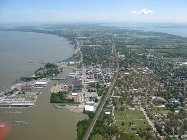 Downtown Port Clinton from the air image