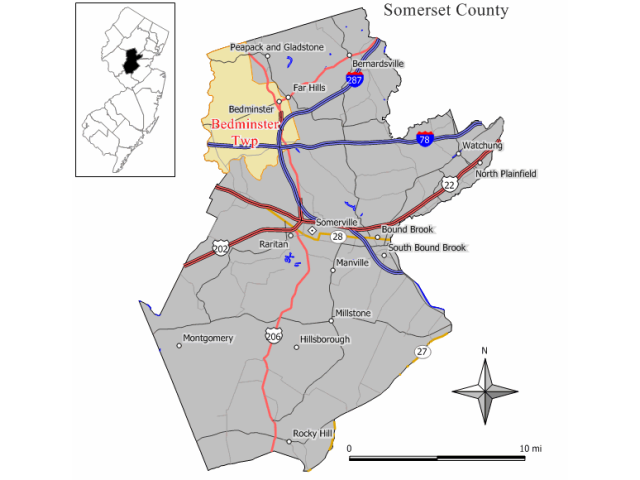 Bedminster locator map