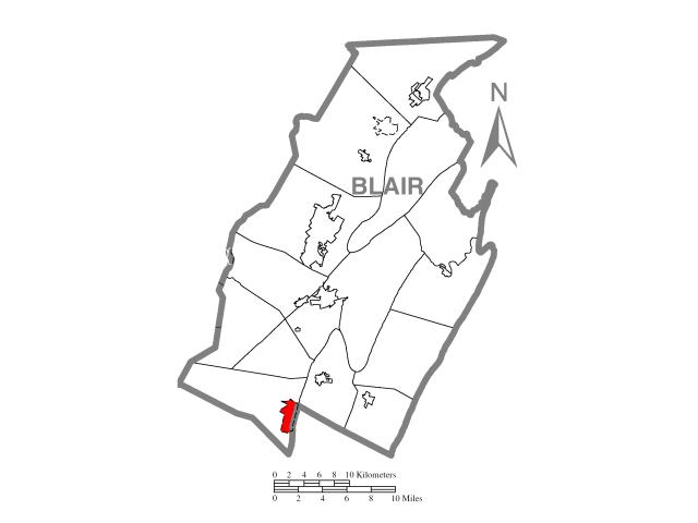 Claysburg locator map