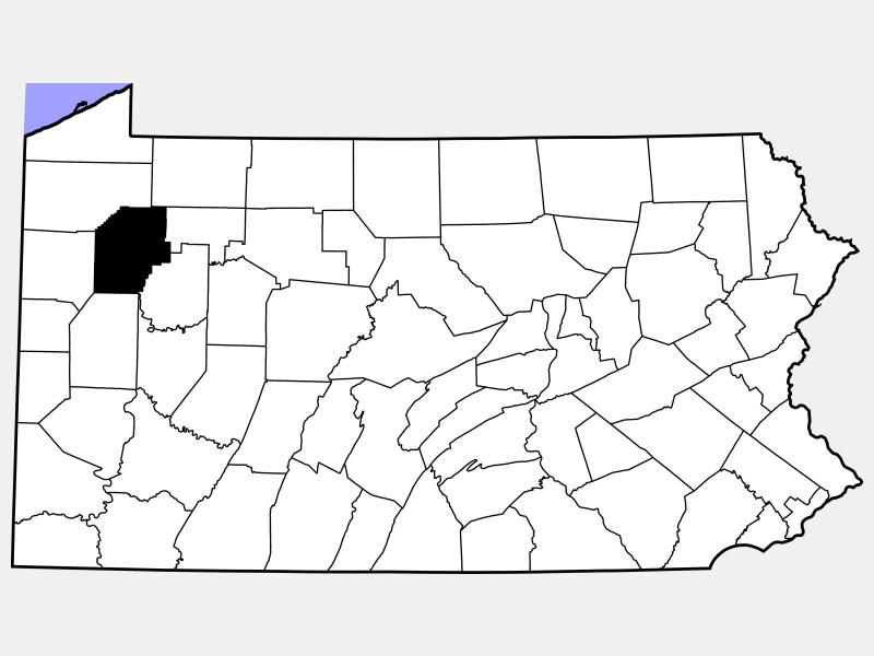Venango County locator map