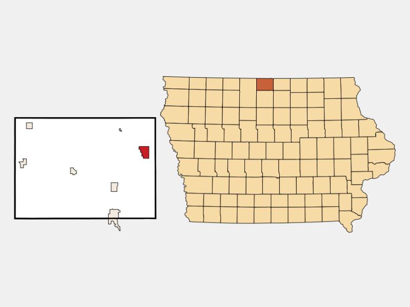 Lake Mills locator map