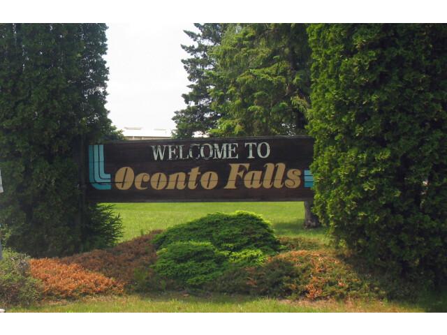 Oconto Falls greeting sign  Summer 2013 image