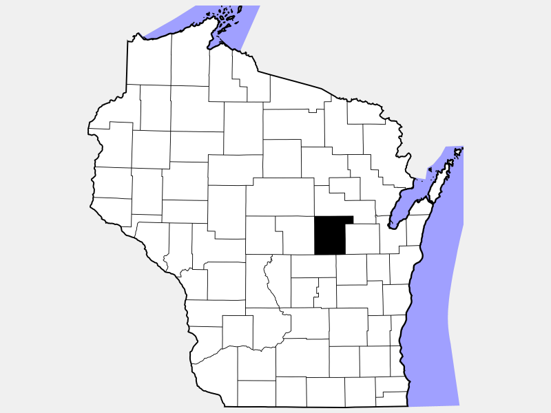 Waupaca County locator map