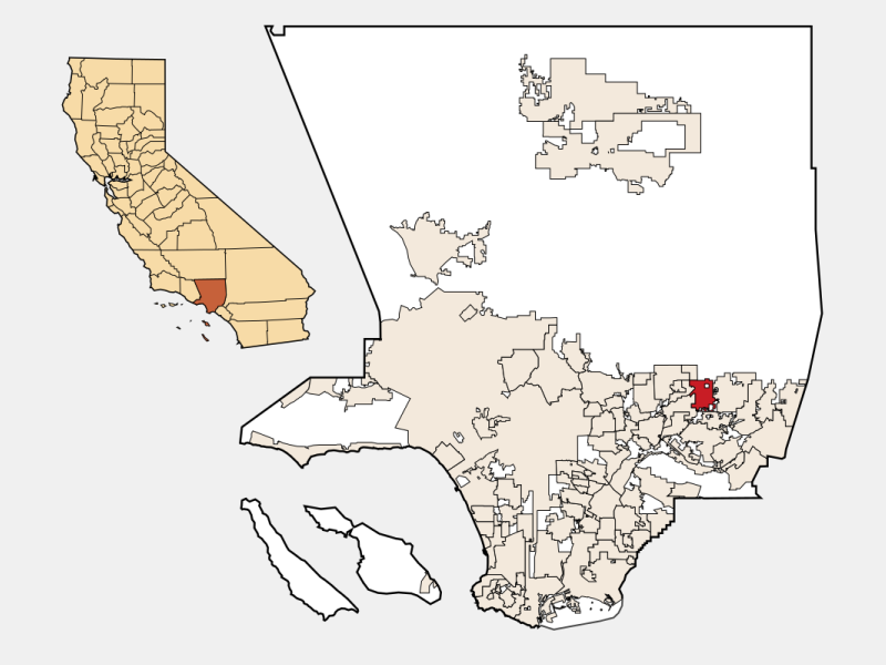 Azusa locator map