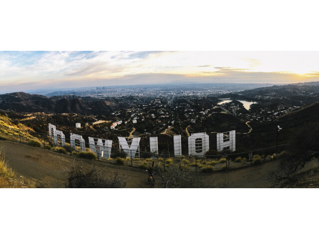 Hollywood sign hill view image
