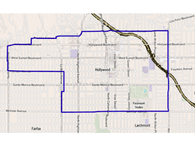Hollywood locator map