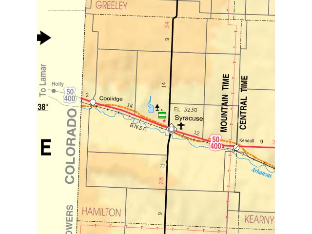Map of Hamilton Co  Ks  USA taxon range map image