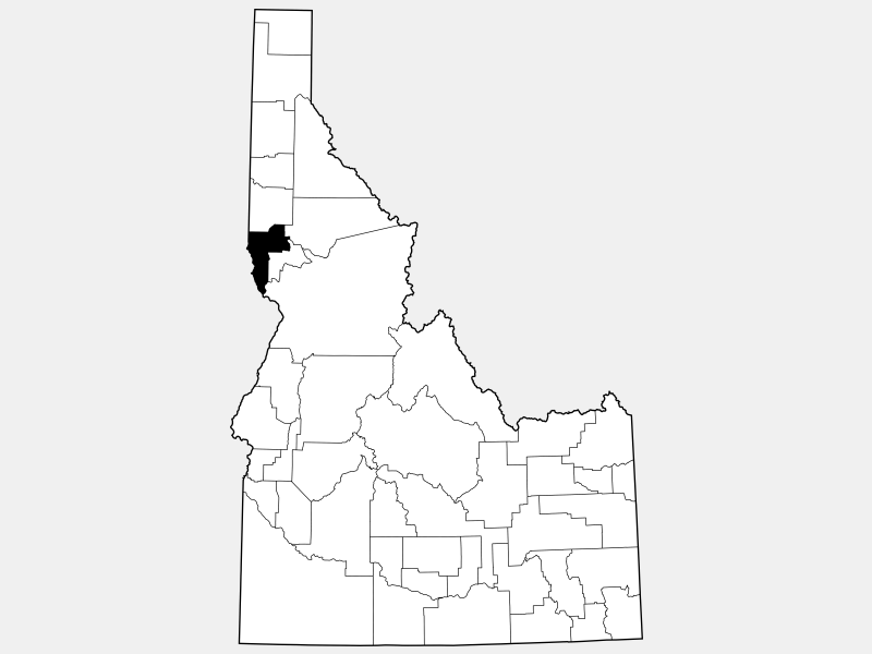 Nez Perce County locator map