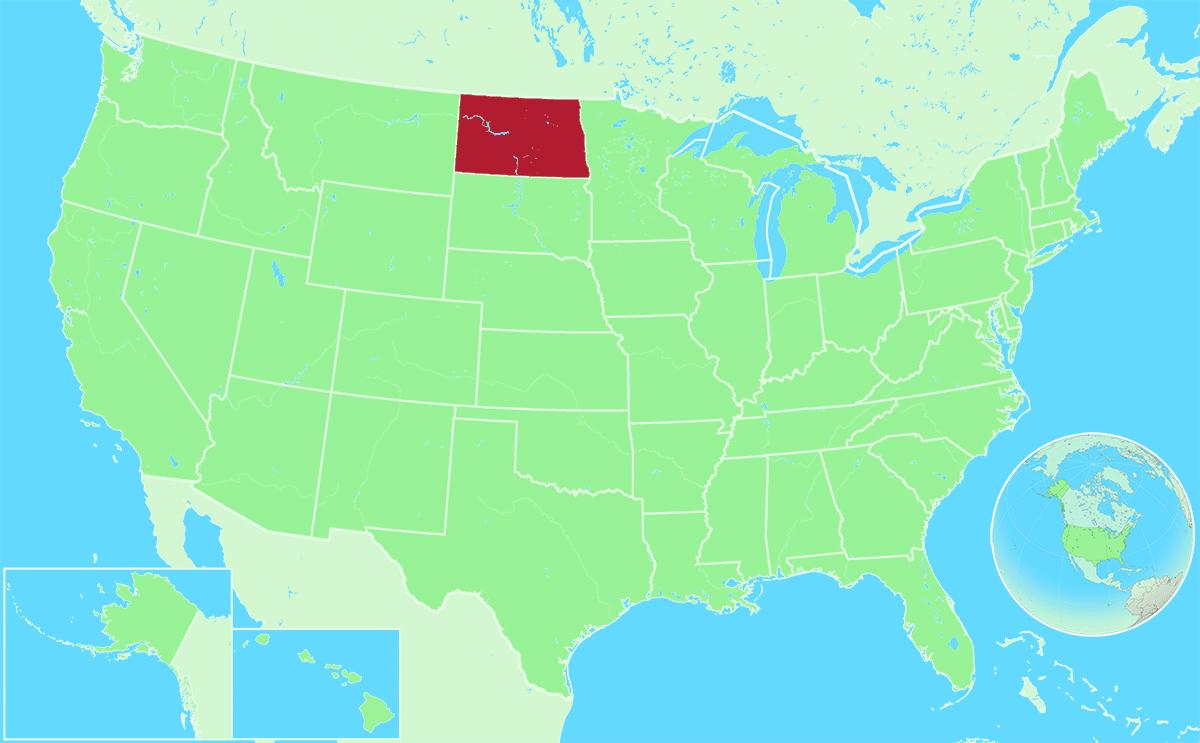 North Dakota locator map