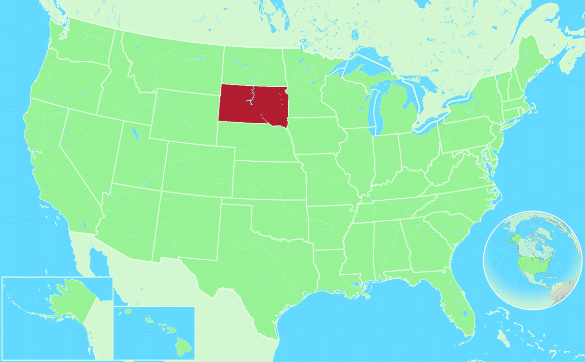 South Dakota locator map