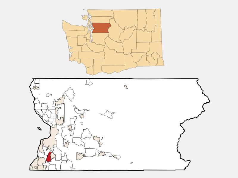 Martha Lake locator map