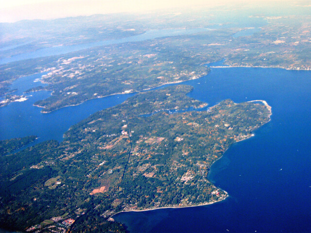 Aerial view of Bainbridge Island and Agate Passage in Olympic Peninsula image