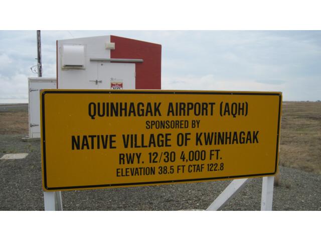 Sign at Quinhagak  Alaska airport 'May 2011' image