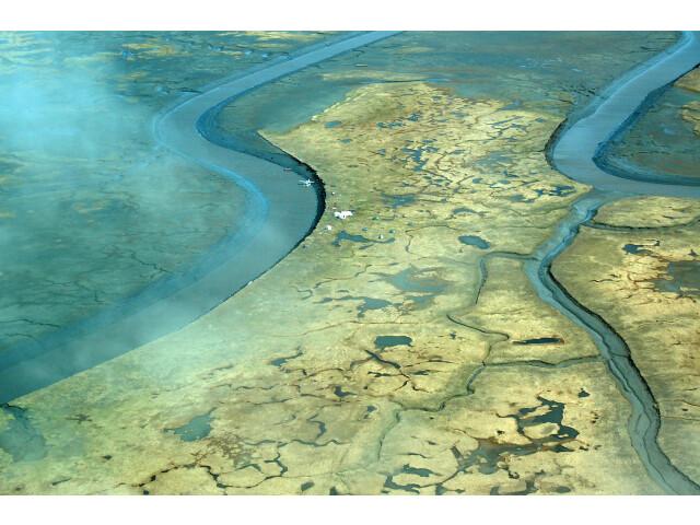 Aerial view of Tutakoke Bird Camp  Coast of the Bering Sea just south of Hooper Bay  Alaska  near Chevak  Alaska image