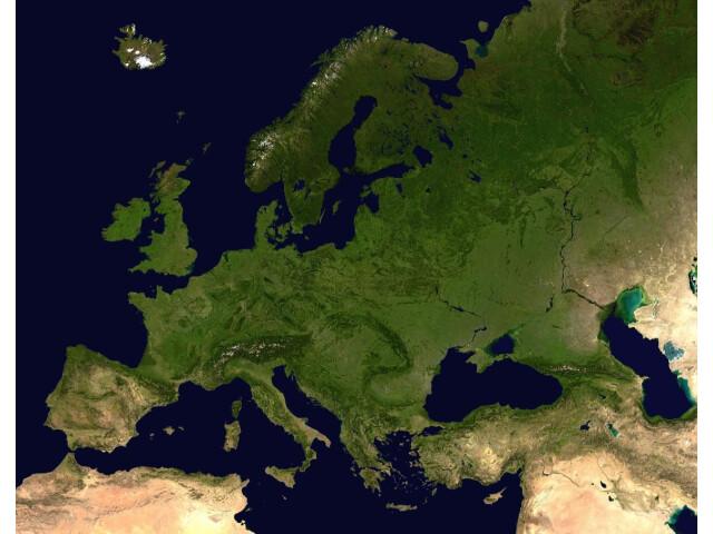 Europe satellite orthographic image