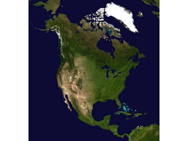 North America satellite orthographic image
