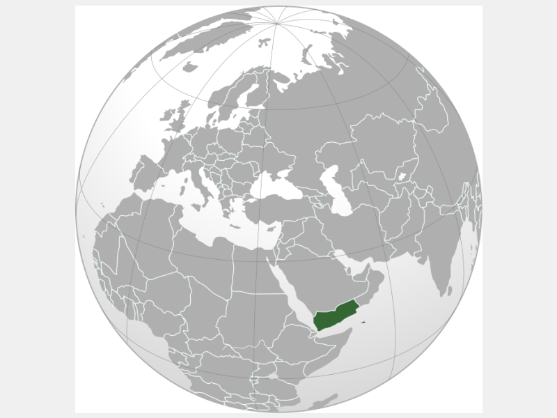 Republic of Yemen locator map