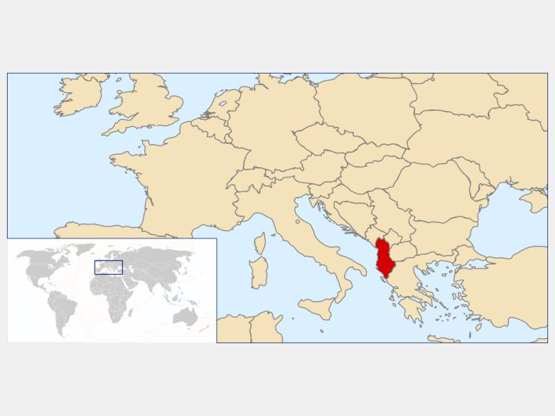 Republic of Albania locator map