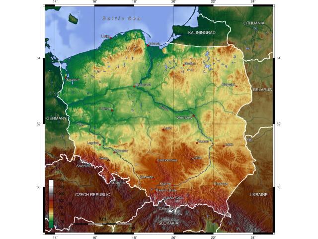 Poland topo image
