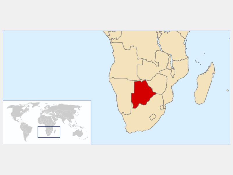 Republic of Botswana locator map